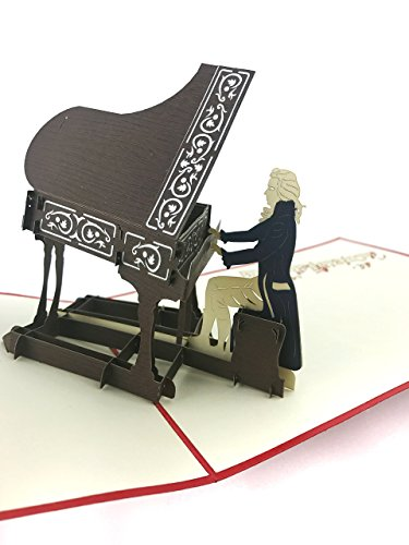 PopLife Grand Piano 3D Pop Up Greeting Card for All Occasions - Musicians, Teacher & Student, Music Lovers - Folds Flat for Mailing - Birthday, Congratulations, Graduation, Retirement, Anniversary