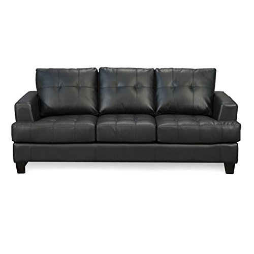 Bowery Hill Contemporary Tufted Leather Sofa in Black