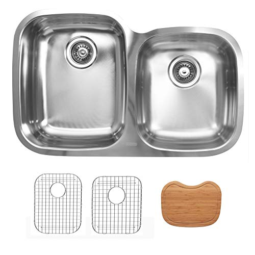 - Ukinox D376.60.40.10L.GC Modern Undermount Double Bowl Stainless Steel Kitchen Sink with Bottom Grids & Cutting Boards