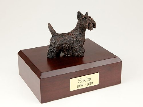 GENUINE North American Hardwood and Bronze Scottish Terrier Dog Urn Small TR200-457 by Ever My Pet