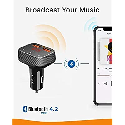 Roav by Anker, SmartCharge F0 FM Transmitter/Bluetooth Receiver/Car Charger Bluetooth 4.2, 2 USB Ports, PowerIQ AUX Output (No Dedicated App) (Renewed): MP3 Players & Accessories