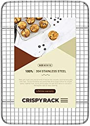 CrispyRack Heavy Duty 100% 304 Stainless Steel Wire Rack For Cooking, Roasting, Drying, and Grilling. Rack Fit