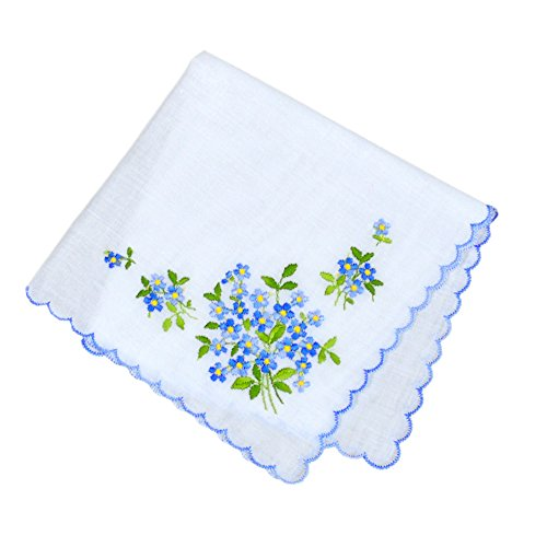 Forget-Me-Nots Wedding Something Blue European Handkerchief Embroidery Heirloom Cotton Ladies ()