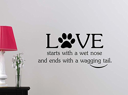 Wall Decal Love starts with a wet nose and ends with a (Dog Vinyl Decal)
