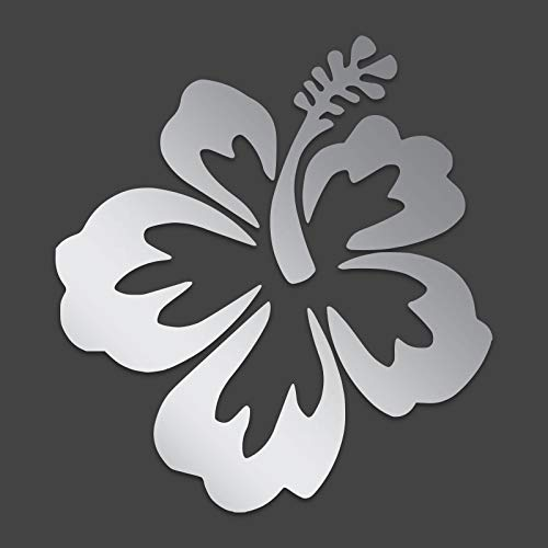 JMM Industries Hibiscus Flower Hawaiian Vinyl Decal Sticker Car Window Bumper 5-Inches Premium Quality Print UV Resistant Laminate (Silver, ()