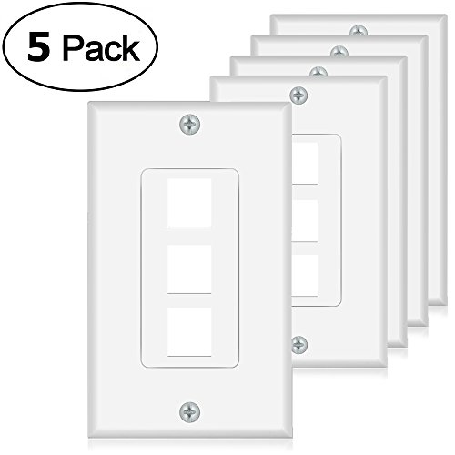 Keystone Wall Plate 3 Port Wall Panel White for Keystone Jack and Modular Inserts(5 Pack