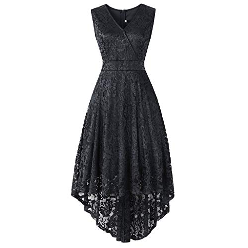 (URIBAKE ♥️ Women's Vintage Lace Dress V-Neck Sleeveless Solid Spring Country Rock Cocktail Dress)