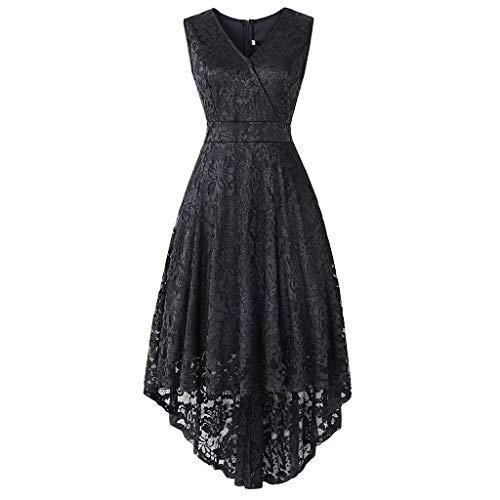 URIBAKE ♥️ Women's Vintage Lace Dress V-Neck Sleeveless Solid Spring Country Rock Cocktail Dress Black