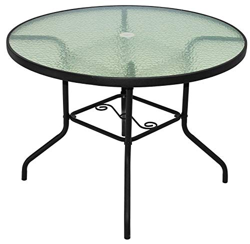 Rio Brands 40 Inch Sienna Round Patio Table With Tempered Glass Top (Chocolate Brown) (Table Patio Glass Round)