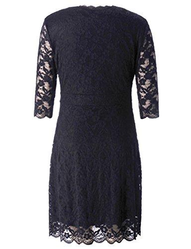 Chicwe Women's Stretch Plus Size Scalloped Boudoir Lace Dress Black 1X