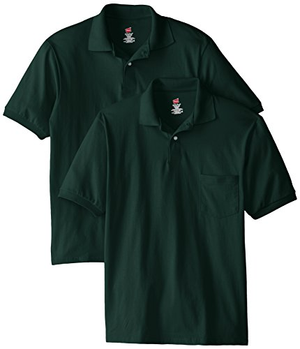 Hanes Men's Short Sleeve Jersey Pocket Polo, Deep Forest, X-Large (Pack of 2)
