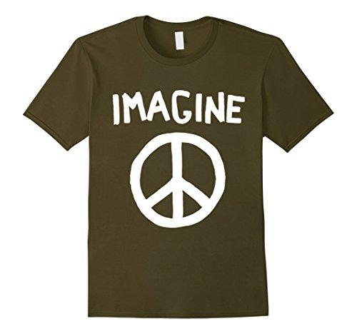 Mens Imagine Peace Symbol T-Shirt 3XL Olive Peace Symbol Green T-shirt