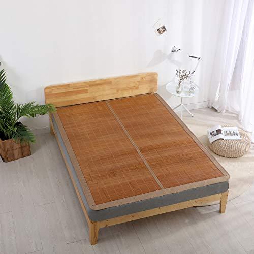 Qbedding Rattan Cooling Summer Sleeping Pad Bamboo & Rattan Reversible Combo Mat(Queen, Bamboo) ()