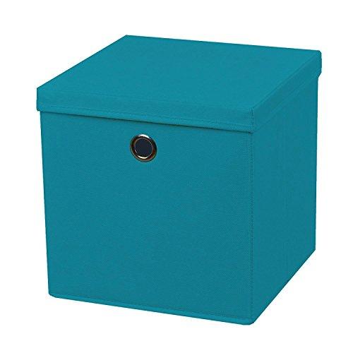 2 Stück Faltbox Türkis 28 x 28 x 28 cm Aufbewahrungsbox faltbar mit Deckel