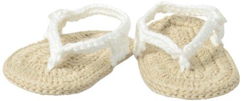 Jefferies Socks Unisex-Baby Newborn My First Flip Flops Bootie, White/Khaki, Newborn