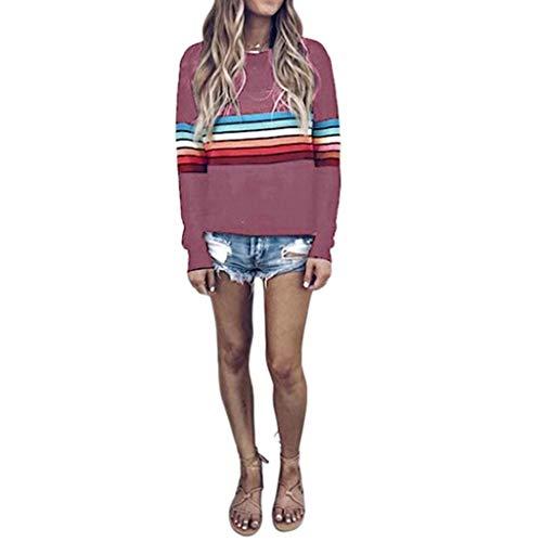 - Sweatshirt for Women,St.Dona Womens Multicolor Striped Rainbow Print Long Sleeve Casual Sweatshirt Top Blouse