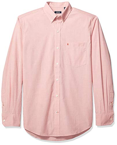 IZOD Men's Button Down Long Sleeve Stretch Performance Solid Shirt, Saltwater Red 1, Large