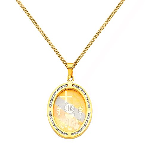 14k Tri-tone Gold Cubic Zirconia First Communion Religious Pendant with 1.5-mm Flat Wheat Chain (1st Communion Religious Pendant)