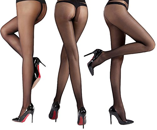 - Women's 3 Pack Sheer Pantyhose Silky Reinforced Crotch Tights Panty Hose of MERYLURE (Small, Black)