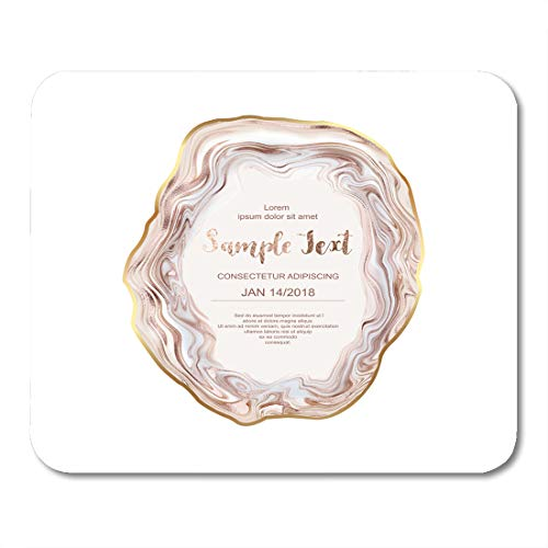 Boszina Mouse Pads Glitter Pink Wedding Agate Slice Gemstone with Gold Border Stone Pearl Mouse Pad for notebooks,Desktop Computers mats 9.5