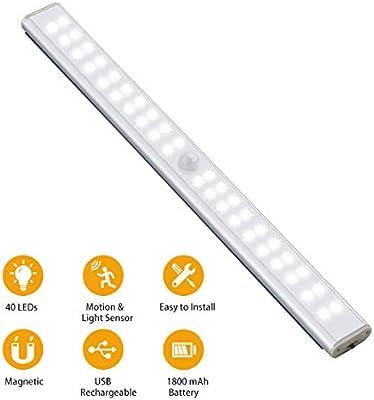 Ruixin Luz Armario con Sensor de Movimiento, 4 Modos de Iluminación, 40 LED Lámpara Nocturna USB Recargable Portátil con Tira Magnética Pegada para Pasillo Escalera Sótano Cocina Garaje Gabinete: Amazon.es: Iluminación