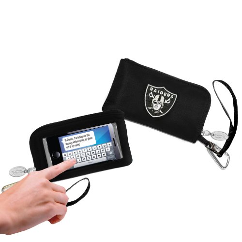 NFL Oakland Raiders Womens Cell Phone Wallet with Embroidered Logo by Little Earth ()