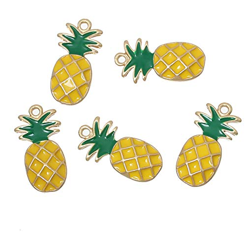 20 Count Pineapple Fruit Charms 18 x 16mm or 3/4 x 5/8 Inch Gold Plated and Enamel Pineapple - Enamel Gold Charm Plated