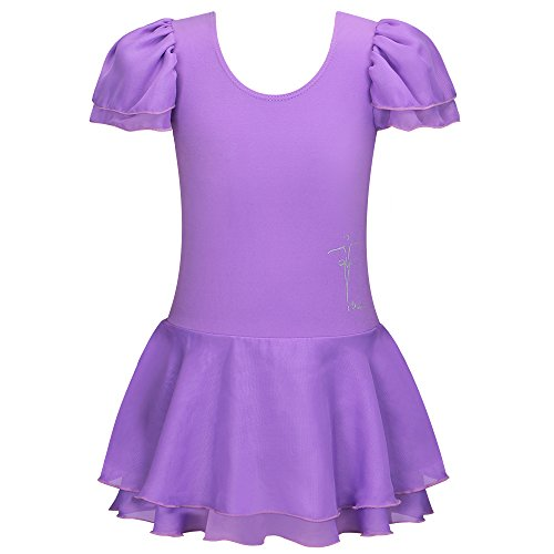 Purple Leotard - BHL Kids Girls Dance Leotard 3-14 Years Ruffle Sleeve (5-6, Purple)