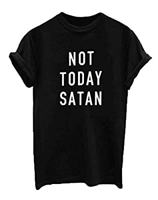 Women Cotton Not Today Satan Letter Print Casual Funny Shirt Top