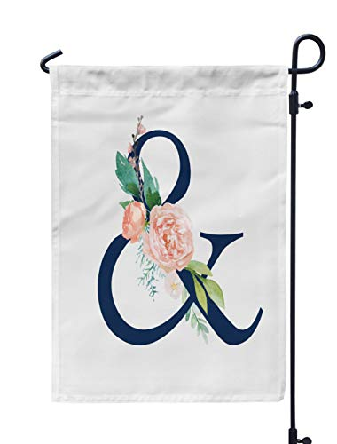 KJONG Navy Floral Garden Flag 12X18 Inch Navy Floral Alphabet with Flowers Bouquet Unique Collection Weatherproof Double Sided Outdoor Flags for Yard Patio House Decorations