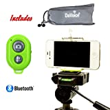 Cell Phone Tripod Adapter - Bluetooth Remote Control - Travel Bag - iPhone Tripod Mount 8 7 X SE 6S 6 Plus 5S 5C 5 4s 4, Galaxy S8 S7 S6 S5 S4 Cell Phone Tripod Mount Clip Holder - DaVoice (Green)