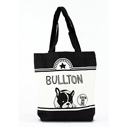 French bulldog Black White Canvas tote Bag can put A4 magazine or documents (Frenchie Costumes)