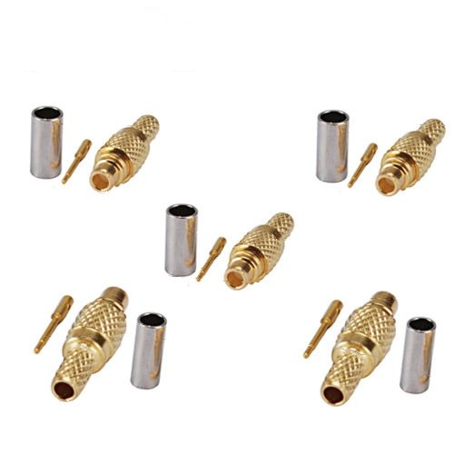5x RF MMCX Male Straight Crimp Coaxial Connector for RG174 RG316 LMR100 Cable USA Shipping - Male Straight Crimp