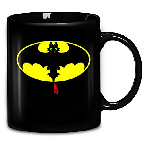 Batman Toothless DC Superheros Comic Dark Knight How To Train Your-Dragon Coffee Mug 11oz & 15oz Ceramic Tea Cups (Interesting Facts About Day Of The Dead)