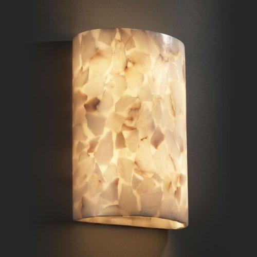 Justice Design ALR-8858, Alabaster Rocks Alabaster Glass Wall Sconce Lighting, 2 Light, 80 Watts