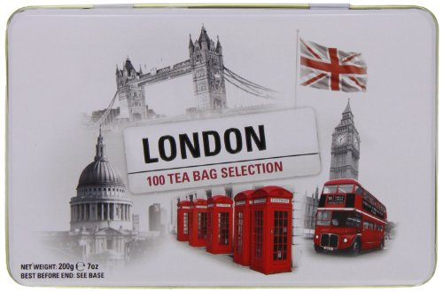 New English Teas London Selection Tin (Pack of 1, Total 100 Teabags) [Grocery]