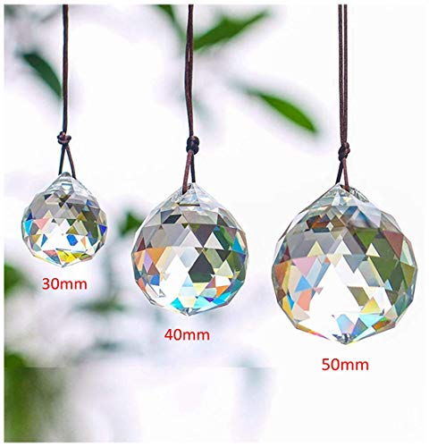 HampD 30/40/50mm Faceted Crystal Ball Chandelier Prisms Ceiling Lamp Lighting Hanging Drop Pendants 3pcs ClearSet