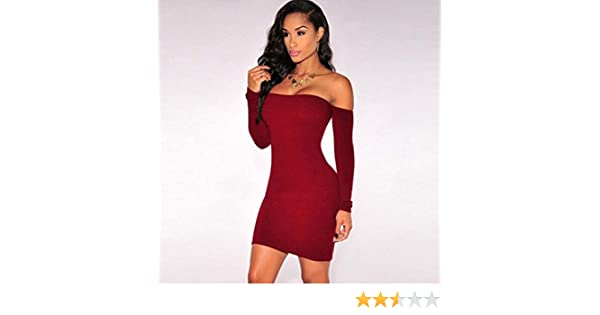 34b418c1e60 Amazon.com: Dolland Women's Sexy Off Shoulder Long Sleeve Club Bodycon  Tight Party Cocktail Pencil Mini Dress,Red Wine L: Arts, Crafts & Sewing