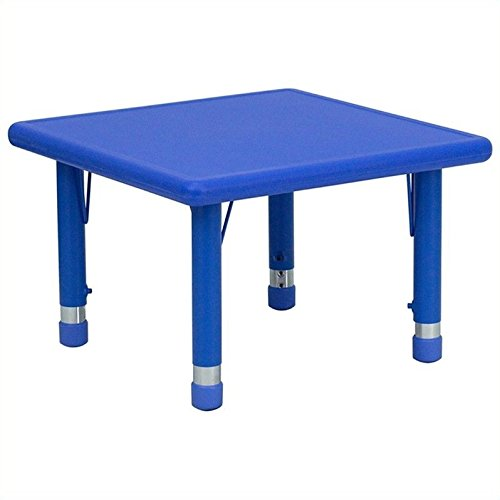 - Flash Furniture 24'' Square Blue Plastic Height Adjustable Activity Table