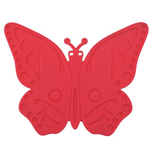 uxcell Silicone Butterfly Design Heat Resistant Mat Cup Coaster Cushion Placemat Red