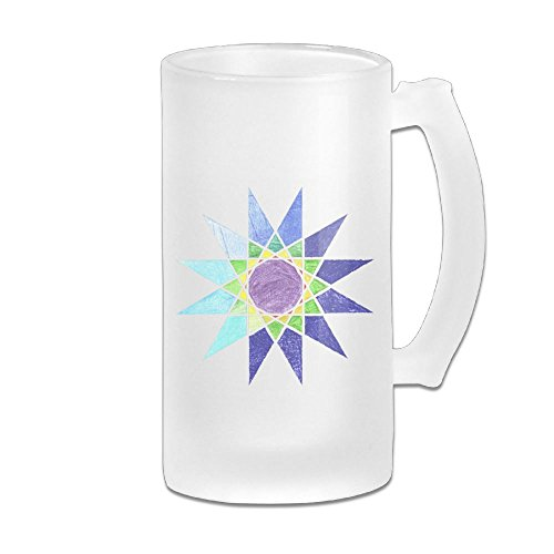 Stars Design Hand Painted Goblet - MarthaStill Colors Geometric Star Anniversary Gift 16 Oz Frosted Glass Stein Wine Beer Mug