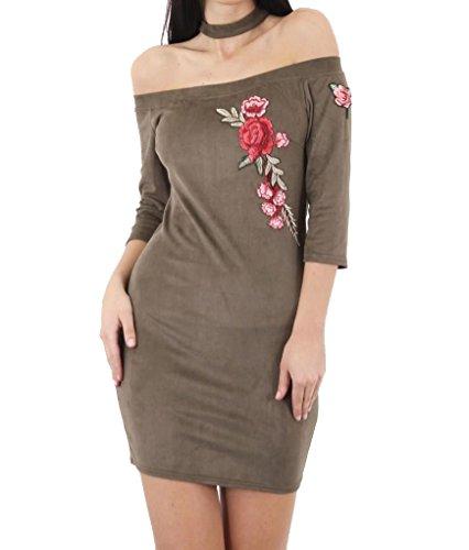 Fashion 1st - Vestido - trapecio - para mujer caqui
