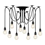 T&A 10 Arms Spider Lamps Vintage Edison Style Adjustable DIY Ceiling Spider Pendant Lighting Rustic Chandelier