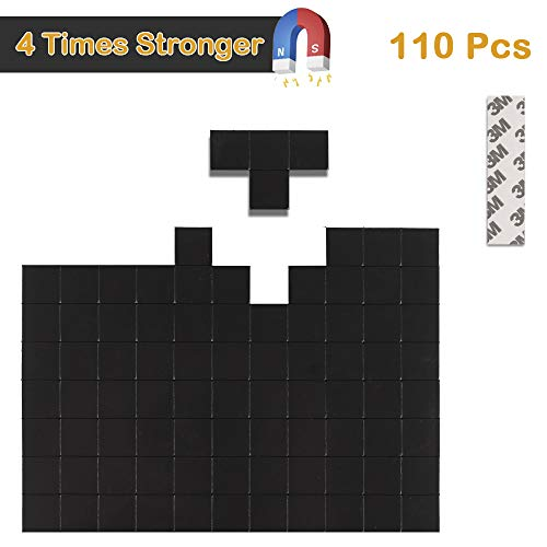 Magnetic Squares - 110 Square Adhesive Magnets with Strong 3M Backing - Each 20x20x2mm - Flexible Sticky Magnets for Crafts & DIY Projects, Hanging & Organizing Lightweight Objects