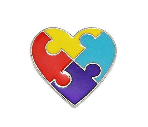 Autism Awareness Puzzle Heart Lapel Pin -