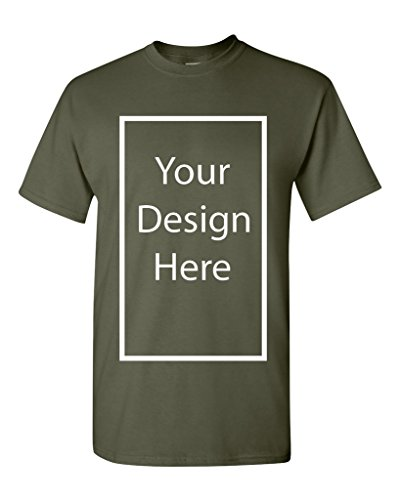 (Add Your Own and Text Design Custom Personalized Adult T-Shirt Tee (Medium, Military Green))