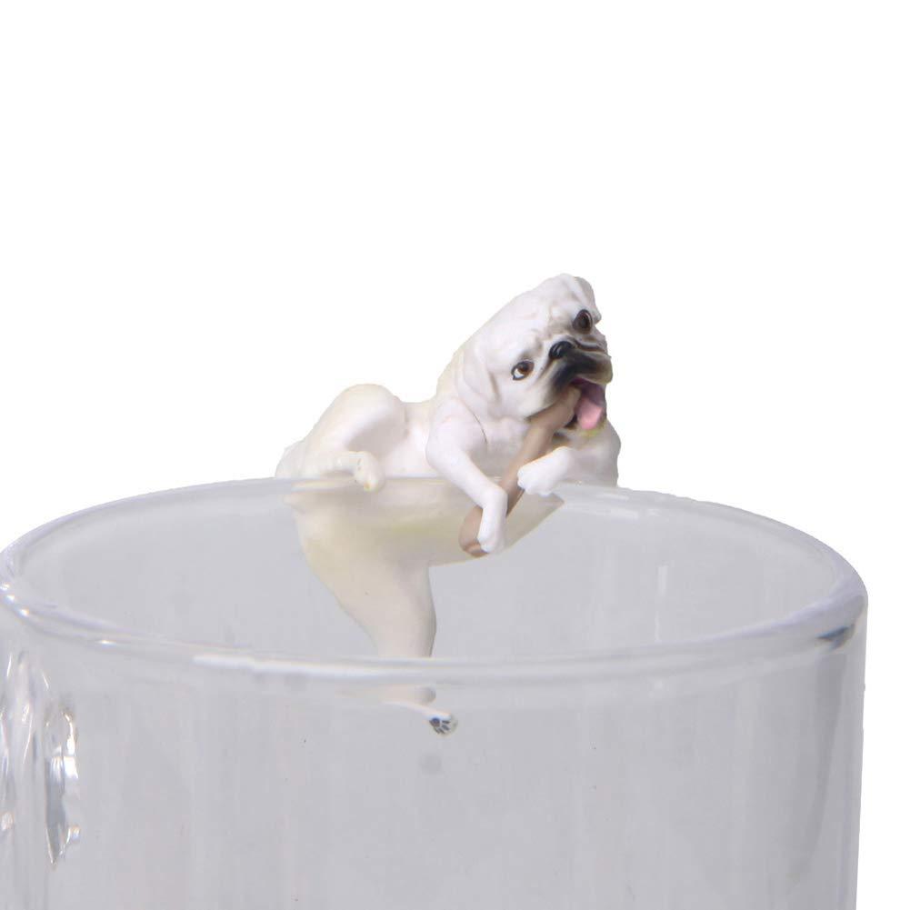 Realista Divertido Mini Perro Perro Figura Colgante en Borde de Taza Amarillo litty089 DIY Hada jard/ín Accesorios PVC Miniatura Animal Modelo Adornamento