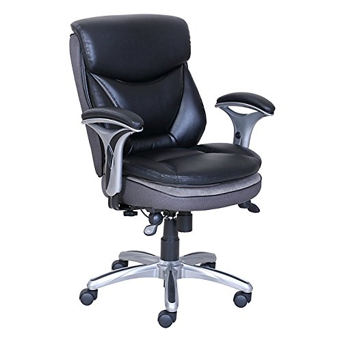 Serta Smart Layers Verona Bonded Leather Mid-Back Manager Chair, Black