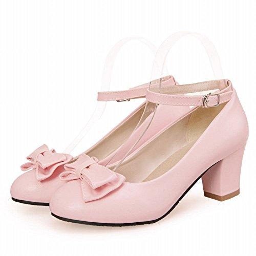 MissSaSa Damen Knöchelriemchen Blockabsatz Pumps mit Schleife Pink