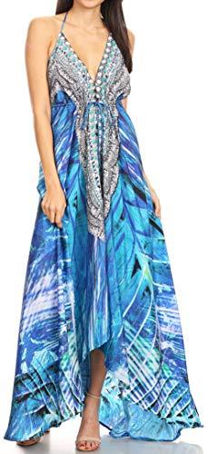 Sakkas 1817 - Lizi Womens Maxi High-Low Halter Handkerchief Long Dress Beach Party - LVB235-Blue - OS
